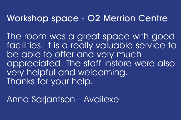 Workshop space - O2 Merrion Centre
